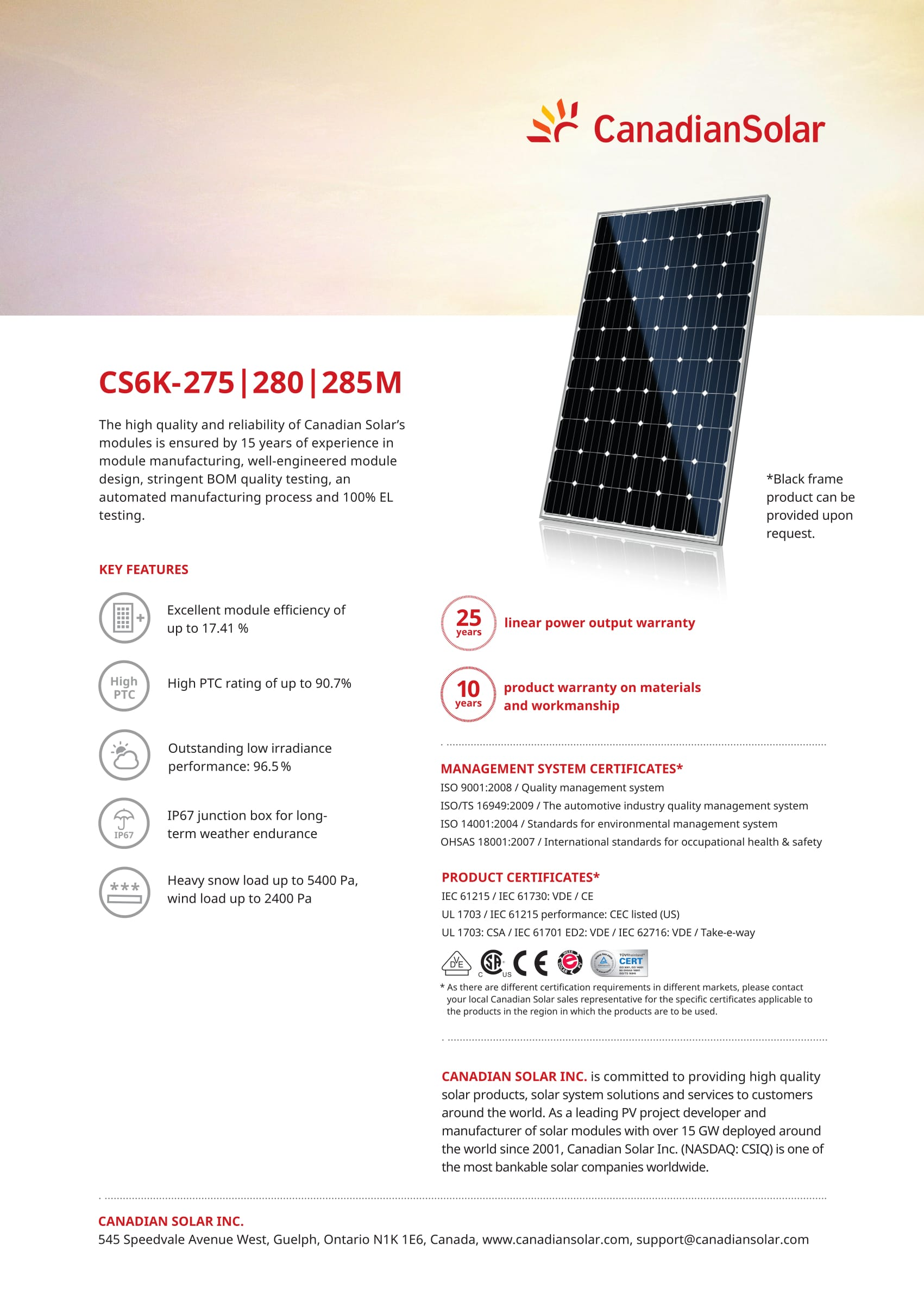 280 Watt Mono Solar Panel Canadian Solar