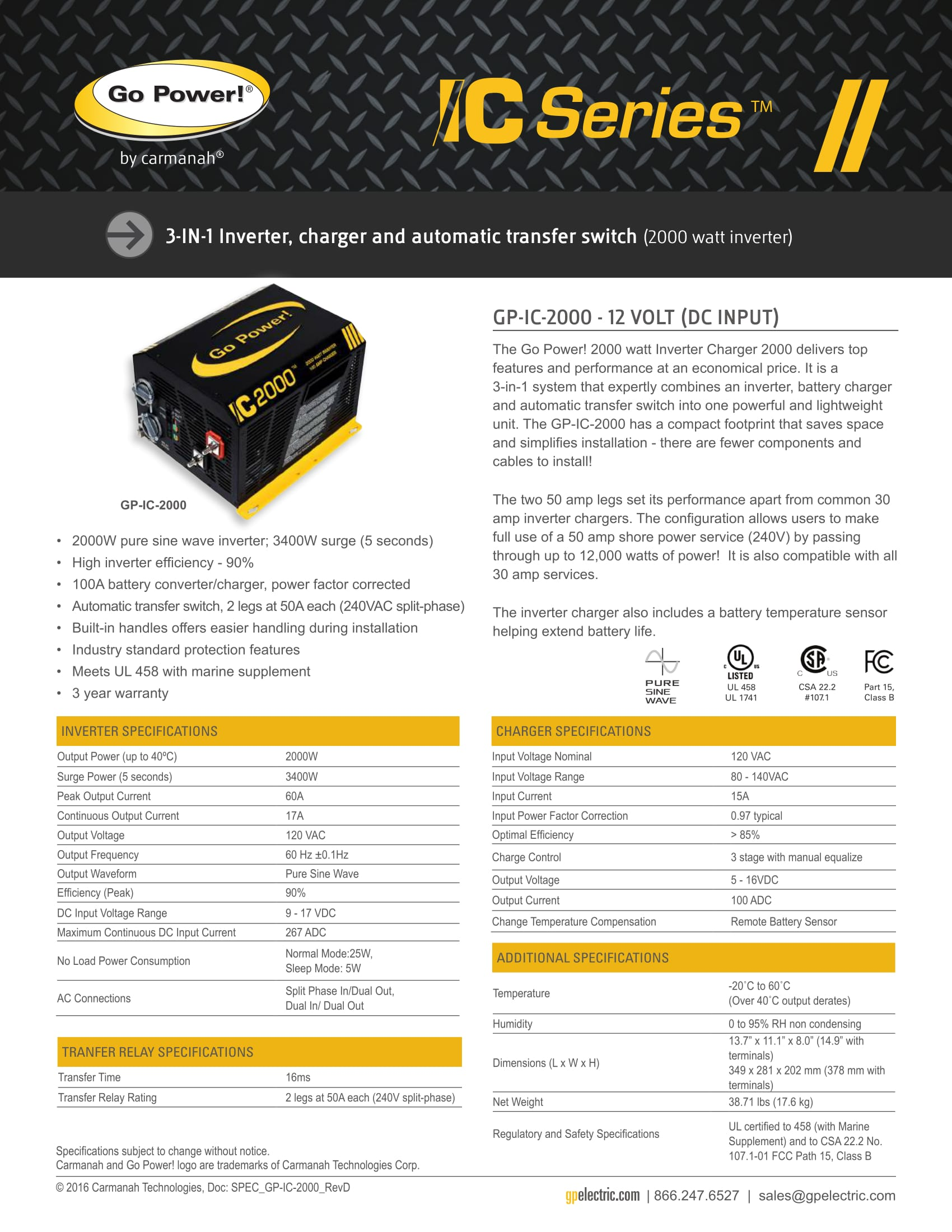 Go Power - Inverter Charger IC Series