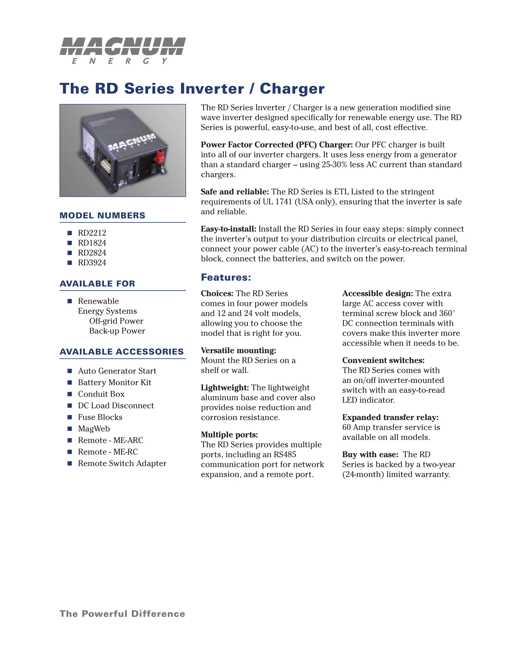 Magnum energy rd 2824 2800w 24v modified sine wave inverter 120a introducing the rd series inverter charger from magnum energy a new generation inverter designed specifically for off grid use the rd series is powerful publicscrutiny Choice Image