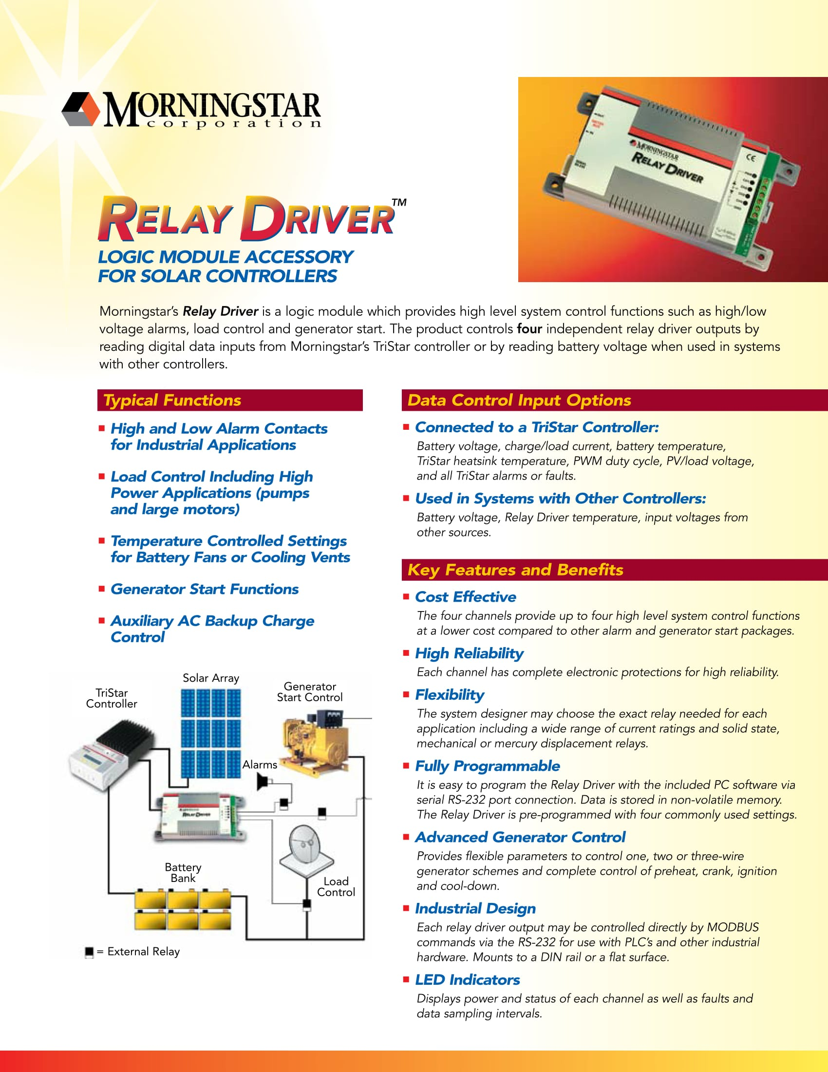 Morningstar Relay Driver For Tri Star Rd 1 Cost Of Electromagnetic Effective High Reliability Flexibility Fully Programmable Advanced Generator Control Industrial Design Led Indicators