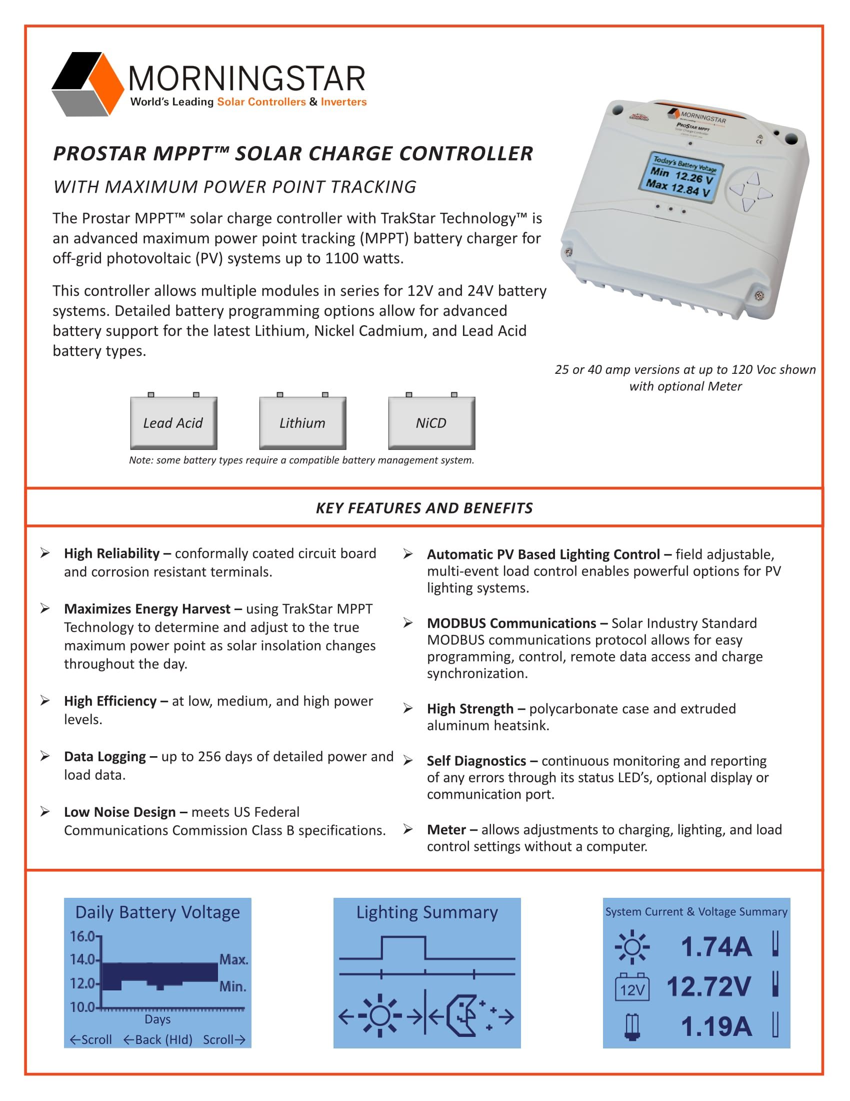 Prostar Mppt Solar Charge Controller 25 Amp Without Display Wiring Schematic Also Circuit Morningstar Corporation 12 24v 40a Meter Ps 40